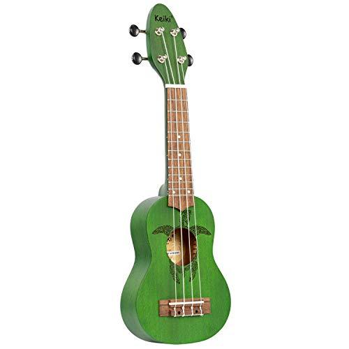 ORTEGA KEIKI Ukulele 4 String - Sopranino Tortiose/Turtle Lasering/KEIKI Headstock/A D F# B/Forest Green K1-GR