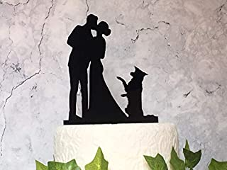 Border Collie Wedding Cake Topper Acrylic Silhouette Black Wedding Decorations Pet Wedding Decor Couple and Collie Bride Groom and Dog