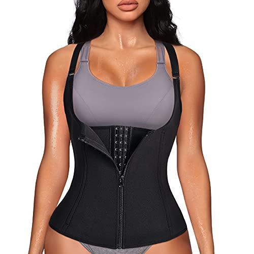 YERKOAD Women Waist Trainer Zipper Cincher Body Shaper Corset Neoprene Sauna Sweat Vest Tank Top With Straps
