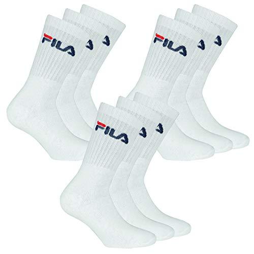 Fila 9 Paar Socken, Frottee Tennissocken mit Logobund, Unisex (3x 3er Pack) (Weiß, 43-46 (9-11 UK))