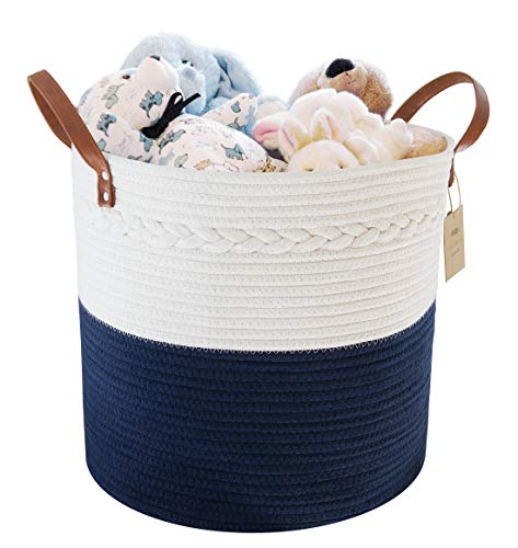 """Cotton Rope Storage Basket 15"""" H x 13"""" D - Home Decor Organizer for Laundry, Bath, Baby Care, Hamper, Nursery, Toys, and Blankets (Navy Blue and White)"""