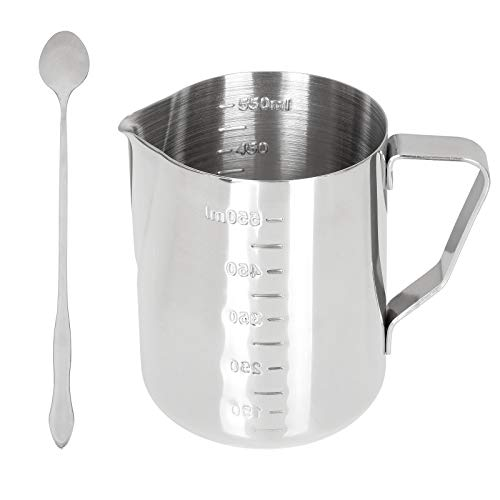 ZIQI Milk Frothing Pitcher 20oz/600ml Steaming Pitchers Stainless Steel Milk Frother Pitcher Jug Coffee Espresso Cappuccino, Milk Jug Cup with Stirring Spoon for Latte Art, Mixing Measurement Cup