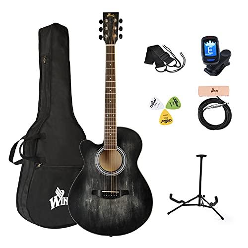 Winzz Guitarra acústica para zurdos, 100 cm, color negro, 100 cm, incluye...