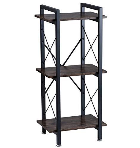 BOTONE Schmales Regal, Bücherregal, Standregal mit DREI Böden in rustikaler Holz-Optik und stabilem schwarzen Metallrahmen; perfekt für Wohnzimmer, Schlafzimmer, Flur oder Bad; (45x35x100cm)