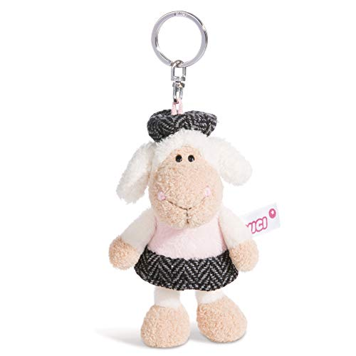 NICI Llavero de peluche de oveja Jolly Chic de 10 cm – Oveja de peluche con llavero para cordón, llavero, llavero y llavero – 44262