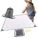 California Voyager Beach Blanket - 7ft x 7ft Drawstring Bamboo Beach Blanket - Sand, Heat & Water Resistant with Weighted Corners, Pocket, Zipper, Ground & Sand Stake Accessories (Mini Mountains)