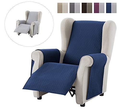 textil-home Salvadivano Copripoltrona Trapuntato Adele - 1 posti - REVESIBLE. Colore Blu