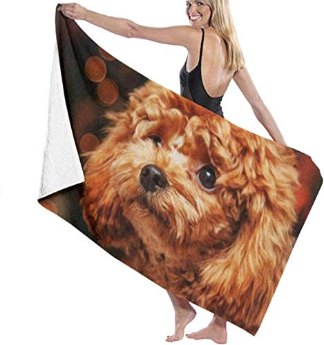Cute Puppy Poodle Beach Towels Large Beach Blanket Towel Ultra Soft Highly Absorbent Bath Towel The Best Creative Gift