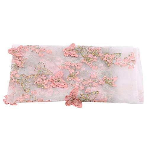 Generic ZNMUCgs Schmetterlingsgitter Stoff Schonbezug BrautkleidungszubehörRosenmuster Elastisch,rosa grünlich