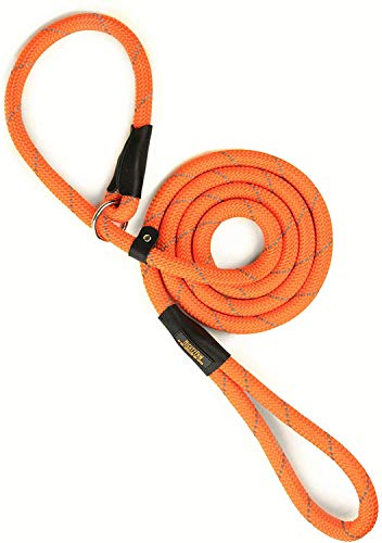 Mighty Paw Slip Rope Dog Leash | 6 ft, One-Size-Fits-All, Slip-On Rope Leash. Easy to Slip On, No Collar or Harness Needed. Durable & Weather Resistant Climbers Rope with Reflective Stitching (Orange)