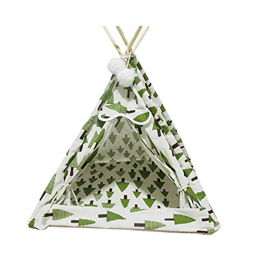 Pet Teepee Bed, Pet Cat Dog Tents With Cushion, Indoor Pet Nest Outdoor Lounge Pet Wigwam, For Small Dogs Small And Medium Sized Pets(Color:Green)