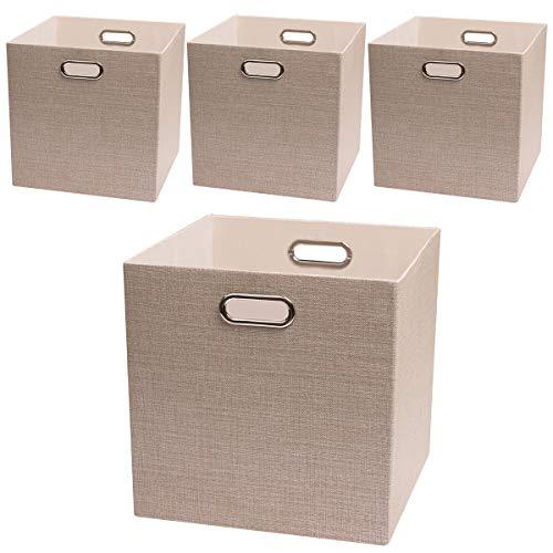 Posprica Storage Cube Basket Bins,13×13 Foldable Storage Boxes for Closet Organizer Shelf Cabinet Bookcase,Thick Fabric Drawer,4pcs, Beige