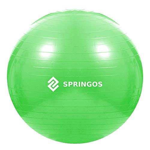 SPRINGOS Gymnastikball, Fitnessball mit Luftpumpe, Sitzball, Pilates, Ball für Yoga, Physiotherapie, Schwangerschaft, Trainingsgerät, Balance Bal, Turnball, Gymnastik-Ball, Gummiball (Grün 65 cm)