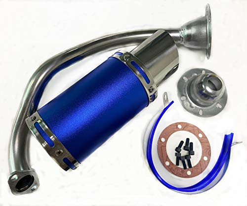 CHGO High Performance Exhaust System GY6 50cc-400cc Racing Exhaust Muffler System Scooter Moped ATV Go Kart-Blue