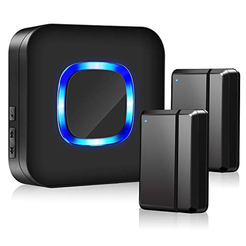 Door Chime Sensor Open Wireless, BISTEE Door Sensor Alarm Kit with 600 FT Range, 5 Volume Levels, 58 Melodies, LED Indicator for Business/Home/Office/Stores