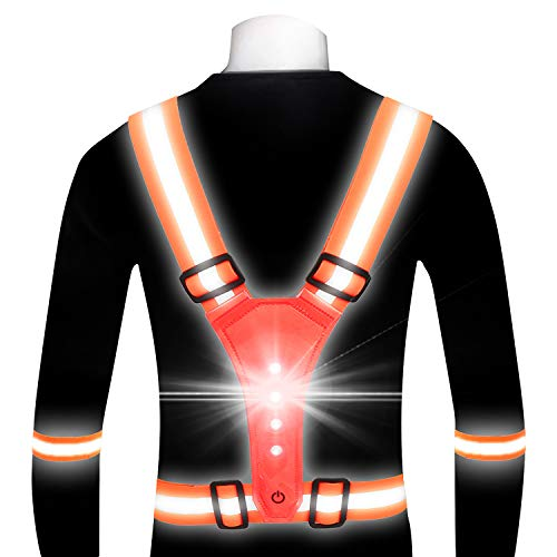 gootrades LED Reflective Running Gear Vest for Women Men, Adjustable Elastic Safety Gear Accessories with 2 Reflective Bands Night Running Walking Cycling Biking (Orange)