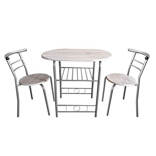 HTI-Line Tischgruppe Merit Stuhl Tisch Esszimmerset Sitzgruppe Essgruppe 1 Esszimmertisch 2 Stühle San Remo