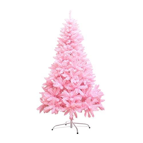 CBRCYGG 5.9ft/1.8M Christmas Trees, Pink Artificial Christmas Tree with Sturdy Stand, 700 Branch Tips, Xmas Tree with LED Lights & Ornaments, for Christmas Decorations