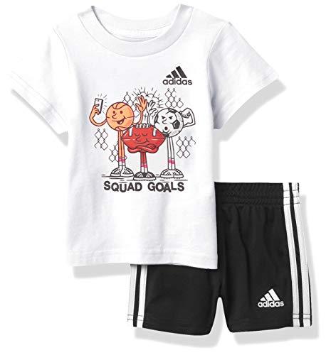 adidas baby boys Graphic Shorts Set, White W/Black, 3-6 Months US