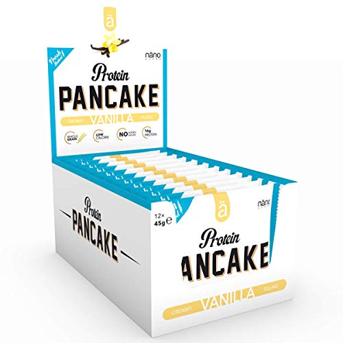 Nanosupps ä Protein PANCAKE Protein Snack - HIGH PROTEIN LOW CARB - LOW SUGAR Fitnessriegel - Leckerer Fitnesssnack - Eiweißriegel für Diät - Ohne Zuckerzusatz und KALORIENARM - 12 Pancakes Vanilla