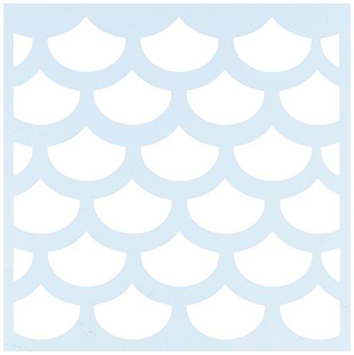 Clear Scraps CSSM6-FSHSC Translucent Plastic Film Stencil, Fish Scales, 6-Inch x 6-Inch