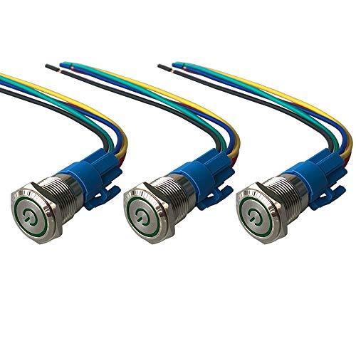 QitinDasen 3Pcs Premium 12V / 24V 5A Interruptor de Botón Autoblocante, 16mm Interruptor de Botón Metálico, LED Verde Interruptor Pulsador Impermeable IP67 con Enchufe de Cable