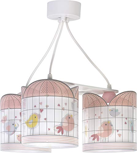 Dalber kinderlamp 3-lampen Little Birds roze vogels 60W