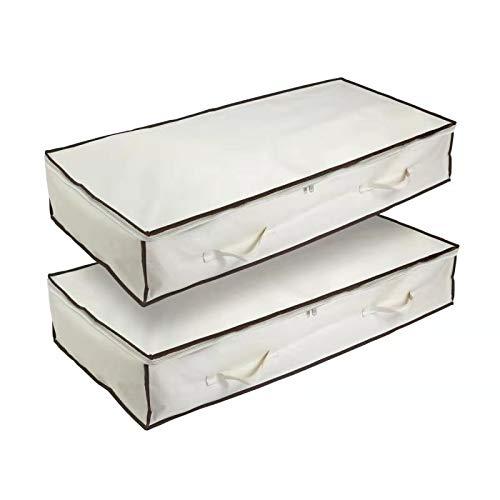 Qiluck Aufbewahrungstasche Unterbett für Decken, Bettwäsche, Bettdecken, Kleidung, Pullover, Unterbettkommode 110 x 50 x 17 cm 90 l 2 Stück