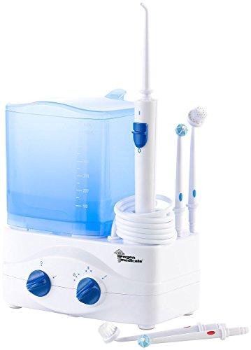 newgen medicals Mund-Massage-Gerät: Elektrische 3in1-Munddusche mit Wassertank (Munddusche für Zahnreinigung)