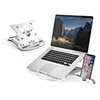 DTK Adjustable Laptop Stand with Phone Holder & 360 Swivel Base (White)