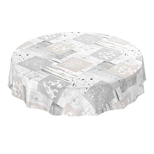 ANRO Wachstuch Tischdecke abwaschbar Wachstuchtischdecke Wachstischdecke Holz Granit Herz Patchwork Rund 120cm