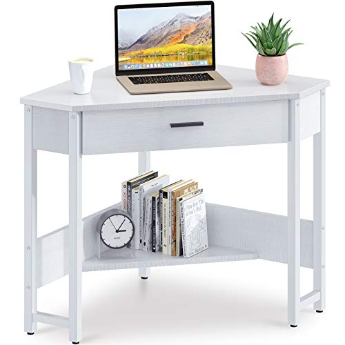 ODK CornerDesk Triangle Computer Desk Corner Vanity with Large Drawer & Storage Shelves, Corner Writing Desk for Workstation, White