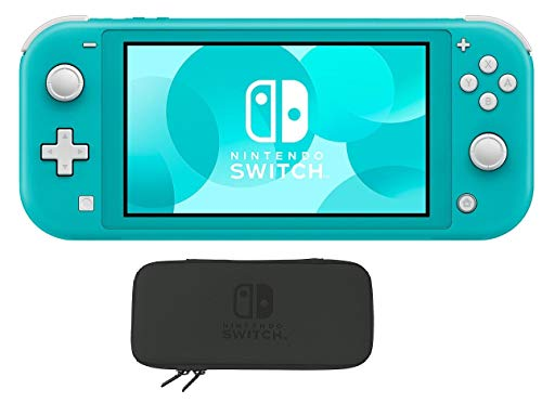 Newest Nintendo Switch Lite 5.5 inch LCD Touchscreen Game Console | 802.11ac WiFi | Bluetooth 4.1 | 3.5mm Audio Jack | Speakers | Turquoise | With Woov Nintendo Switch Lite Case Black Bundle