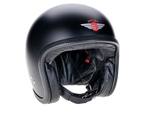 Davida Jethelm Speedster V3 Schwarz Matt Openface Motorradhelm Classic Helm, XL
