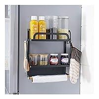 多機能収納ラック キッチン多機能冷蔵庫保管壁掛けオーガナイザー棚スペースセーバー冷蔵庫サイドウォールストレージホルダーラック