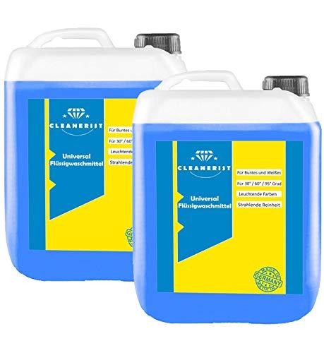 Cleanerist Flüssigwaschmittel Universal Waschmittel | 2x10 Liter Vollwaschmittel Grosspackung | bis zu 500 Waschladungen color weiß schwarz