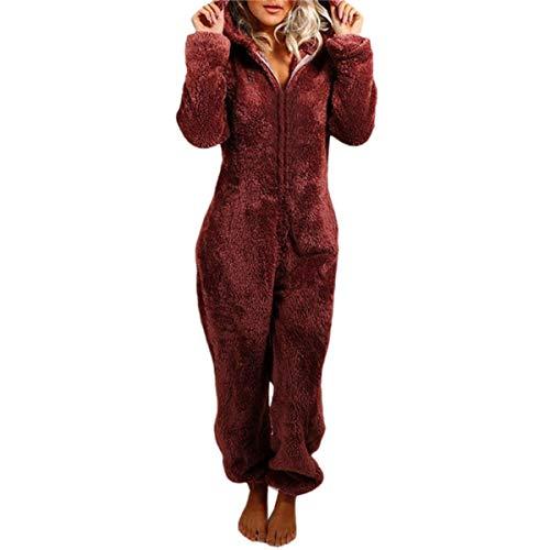 Damen Jumpsuit Teddy Fleece Reißverschluss Einteiler Overall mit Kapuze Flauschig Warme One Piece Pyjama Jumpsuits (Weinrot, M)