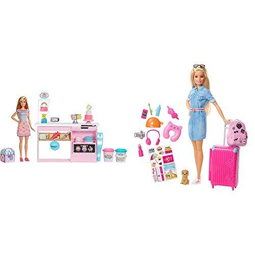Barbie y su pastelería, muñeca con Cocina y Accesorios, Regalo para niñas y niños 3-9 años (Mattel GFP59) + Vamos de Viaje, muñeca con Accesorios, Edad Recomendada: 3 años y mas (Mattel FWV25)