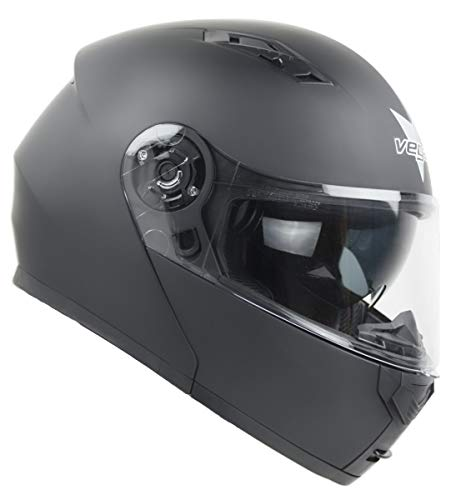 Vega Helmets Spark Advantage Full Face Modular Motorcycle Helmet w/Sunshield, Matte Black LG
