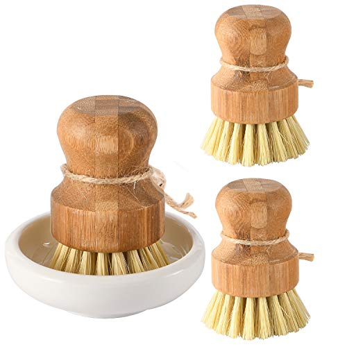 SUBEKYU Bamboo Dish Scrub Brushes, Kitchen Wooden Cleaning Scrubbers Set for Washing Cast Iron Pan/Pot, Natural Sisal Bristles, Set of 3