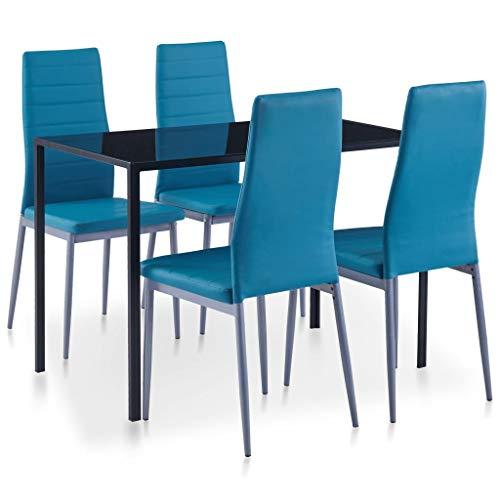 vidaXL Essgruppe 5-TLG. Esszimmertisch Esstischset Esszimmergarnitur Küchentisch Esszimmer Stuhl Tisch Set Sitzgruppe Esstisch mit 4 Stühlen Blau