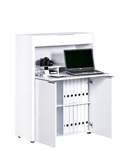 Jahnke Sekretär, E1 Spanplatte, Dekorbeschichtung, Metall, Hochglanz-weiß, 86 x 39 x 121.5 cm