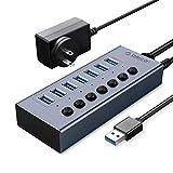 ORICO Aluminum Powered USB Hub, 7 Ports 24W USB 3.0 Data Hub