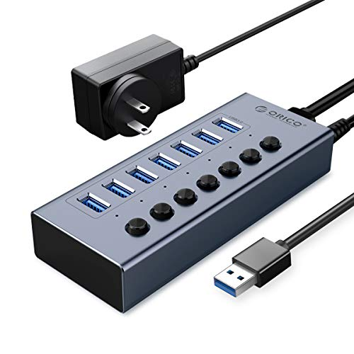 orico usbs ORICO USB 3.0 Hub Powered 7 Ports USB Data Hub with Individual On/Off Switches and12V Power Adapter Support BC1.2 Charging, USB Extension for iMac Pro, MacBook Air/Mini, PS4, Surface Pro, PC