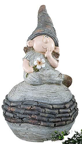 Gartenfigur Zwerg auf Kugel, 54 cm, creme-braun