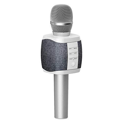 TOSING XR Micrófono de Karaoke Inalámbrico Bluetooth, Potencia de Volumen Más Alta 10W, Más Bajo, 3-en-1 Máquina de Micrófono Portátil de Altavoz Portátil para Android/PC (dark grey)