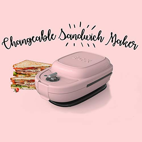 Kelong ecx Sandwichera con temporizador y 5 tipos de hornos antiadherentes de grado alimenticio rosa