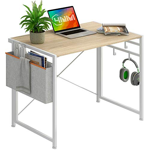"""4NM 35.4"""" Small Desk with Storage Bag and 4-Hook No-Assembly Folding Computer Desk Home Office Desk Laptop Study Writing Table - White with Storage Bag"""