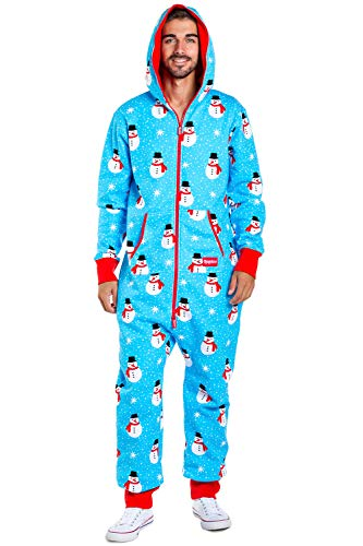 Men's Cozy Christmas Onesie Pajamas - Blue Chilly Snowman Holiday Adult Cozy Jumpsuit: Large