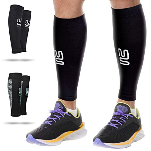 Modetro Sports Wadenbandage – Kompressionsstrümpfe ohne Fuß für Damen u. Herren – Bequeme Sport-Compression-Socks – Schwarz – Medium – 2 Paar